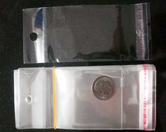 3 in crystal clear cellophane jewelry display packaging peghook ready bags ba001