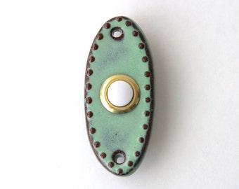 Doorbell Tile Plate Cover with Standard Button in Rustic Aqua Mist - Handmade Modern Home Decor