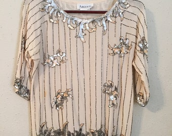 Vintage White Silk Shirt with sequins and beading