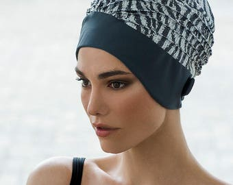 Retro Style Swim Cap - Fashy Turban Swim Hat - Grey Sequin Animal Print Swimming Hat - Swim Cap - One Size  - Vintage Style Swim Cap