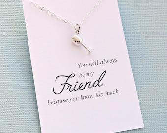 Best Friend Gift   Wine Glass Necklace, Friendship Necklace, Best Friend Necklace, Friends Friendship Gift, Best Friend Necklace   F10