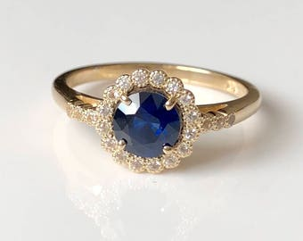 Blue Sapphire Engagement Ring, yellow Gold, Halo, Unique, white sapphire, Vintage Inspired, Dainty, flower, September Birthstone