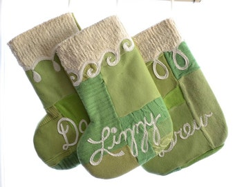 Christmas Stocking - Lime Greens - ONE