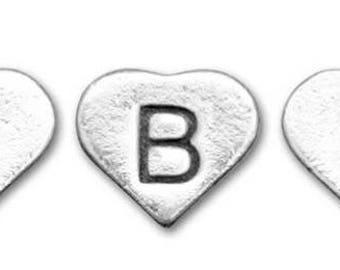 Sterling Silver Heart Letter Bead - Sterling Silver Heart Initial Bead - Add on Letter - Add on Initial