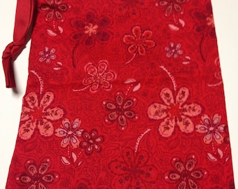 Sew Simple red floral print drawstring bag