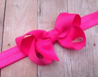 Neon pink baby headband- neon pink bow headband, baby headband, newborn headband, baby bow headband, baby girl headband, pink headband
