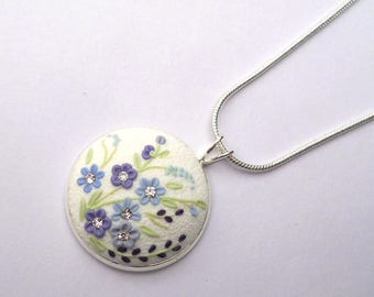 White Clay Necklace Silver Necklace Clay Embroidery Clay Applique Blue Embroidery Flowers Polymer Clay Jewelry Art Necklace Clay Jewellery