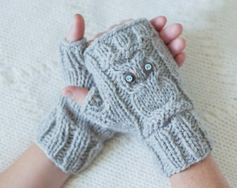 Download knitting pattern #037 - Owl Fingerless Gloves, Owl Knit Fingerless Mittens, Owl gloves - pdf tutorial