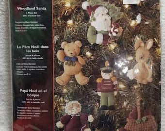 Bucilla by Plaid 6 piece felt ornament kit, Woodland Santa, Unopened, 85116, Maria Stanziani