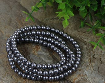 40 small charcoal pearls 3 mm acrylic