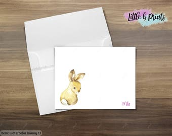 Set of 10 Brown Cottontail Bunny Rabbit note cards Watercolor personalized stationery notecards