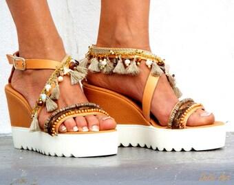 Sandals wedged Heel, Platform, Greek leather sandals, boho sandals, Pom pom sandals, brown earth color Handmade sandalsMade with love
