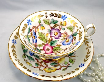 Royal Chelsea Duo, Wide Mouth,Floral Pattern, Gold Rims, Bone English China made in 1960s