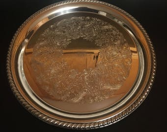 Vintage WM Rogers Silver Tray #171 ; Decorated Silver Platter