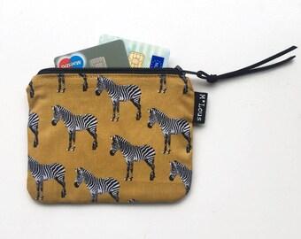 coin purse little zipper pouch coin pouch small wallet vegan boho zipper purse tiny wallet travel pouch retro ochre purse byMlous zebra