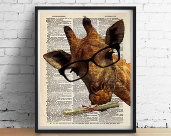 Graduation GIRAFFE Glasses Art Print Poster Gifts for Grads College Safari Animal Wall Decor Vintage Dictionary Book Page 8x10 More Sizes
