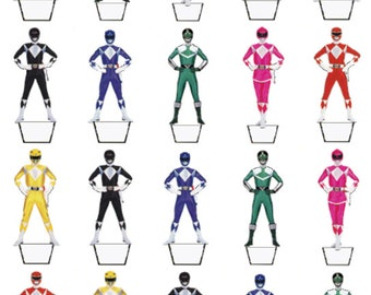 Power Rangers 20 birthday edible stand up cake toppers decorations premium wafer card, available precut or uncut