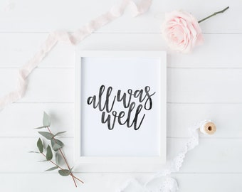All Was Well, Harry Potter Quote Print, Harry Potter Art, Black Watercolour Art, Digital Print, Instant Download