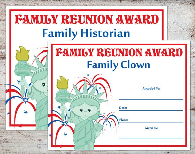 Family Reunion Awards Certificates