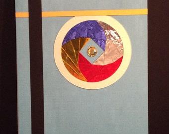 Blue iris folded card