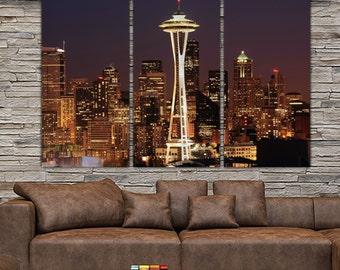 Seattle Skyline Canvas Set, Large Wall art of Seattle Photo, Seattle Canvas, Seattle Art, Seattle Poster, Seattle Print, Seattle Wall Art