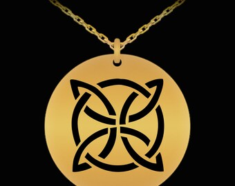 Etched Celtic Knot Pendant 5 - Scottish Gifts - Celtic Jewelry - 18K Gold Plated