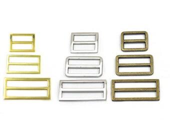 """Metal Adjustor Triglides Slides Leather strap Webbing Buckles 1"""" 25mm 1.5"""" 38mm 2"""" 50mm"""