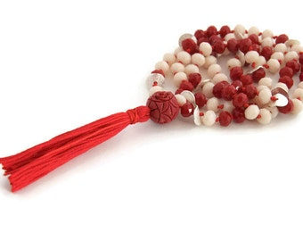 Red tassel necklace - red and white necklace - christmas gifts idea - boho fashion jewelry - bohemian jewelry - gifts under 30