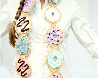 Crochet Doughnut Scarf, With Five Frosting Colors