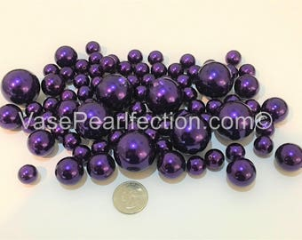 All Deep Plum Pearls - Jumbo/Assorted Sizes Vase Fillers for Centerpieces