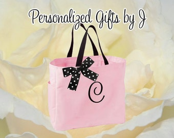 4 Personalized Bridesmaid Gift Tote Bags Personalized Tote, Bridesmaids Gift, Monogrammed Tote