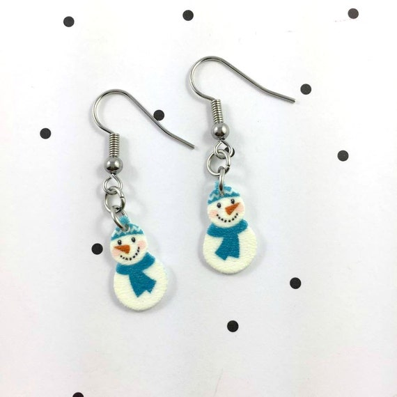 snowman, blue scarf, earring, pendent, earring,  plastic, winter, snow, stainless hook, handmade, les perles rares