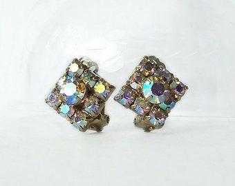 Aurora Borealis Earrings Square Clip on back Vintage