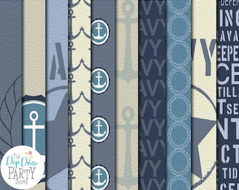 Navy Military Digital Scrapbooking Paper Pack, Buy 2 Get 1 FREE. Instant Download