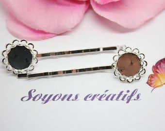 10 bars ring 12mm - SC25242 - Fleur silver hair clip