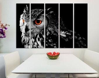 Northern Pygmy Owl Canvas Print -5 Panel Split. Black and White wall art of colored eyes pigmy bird photography for kitchen, room wall decor