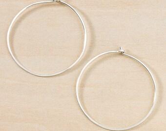 Simple Everyday Circle Hoop Earrings Hammered Handmade Sterling Silver Hoops Minimal Earrings Gold Filled Hoops Classic Rose Gold Hoops