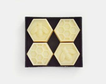 Beehive Soap Set | Four Homemade Hexagon Shaped Soap Bars