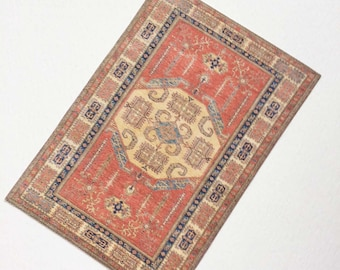 Miniature Coral Oriental Rug in Several Sizes for Fashion Dolls, Dollhouse 1:12 Scale, or Half Scale