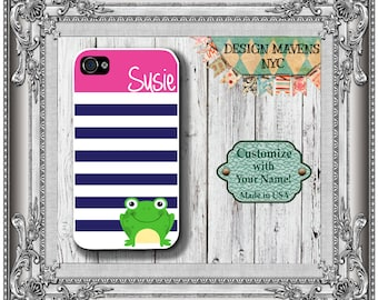 Preppy Frog iPhone Case, Personalized Phone Case, Monogram Phone Case, iPhone 4, 4s, Phone 5, 5s, 5c, iPhone 6, 6 Plus, Phone Case