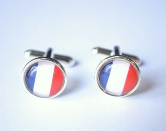 French Flag Mens Cuff Links Groomsmen Gifts Wedding Gifts