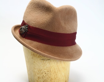 Camel Velour Fur Felt Fedora Hat with Wide Grosgrain and Spider Pin Bling - Womens Hat/Couture Hat/Millinery