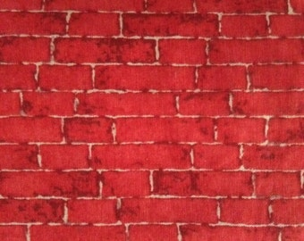 One Half Yard of Fabric Material - Bright Red Bricks