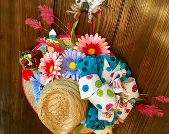 Baked with Love Straw Hat Wreath, Kitchen Decor, Gift for Cook, Gift for Baker, Foodie Gift, Gift for Mom, Culinary Student Gift