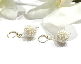 Vintage Round Ball Pearl Dangle Drop Earrings