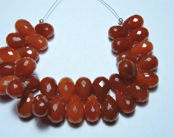 30 Pcs Beautiful Natural Mandarin Orange Chalcedony Faceted Tear Drops Briolettes Size 9X6-12X7 MM