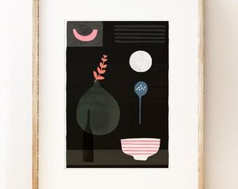 Modern still life art print 'Night Hours II'. Graphic art print, modern gallery wall art