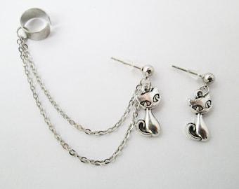 Cat ear cuff chain earring
