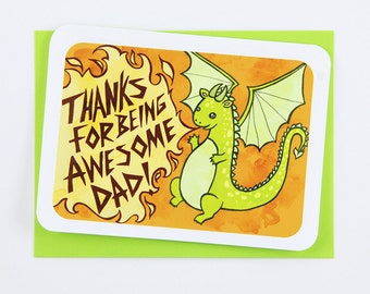 Thanks for Being Awesome Dad Dragon - Father's Day Card for Dad Awesome Dad Card Cute Fathers Day Card Dad Card Happy Fathers day card