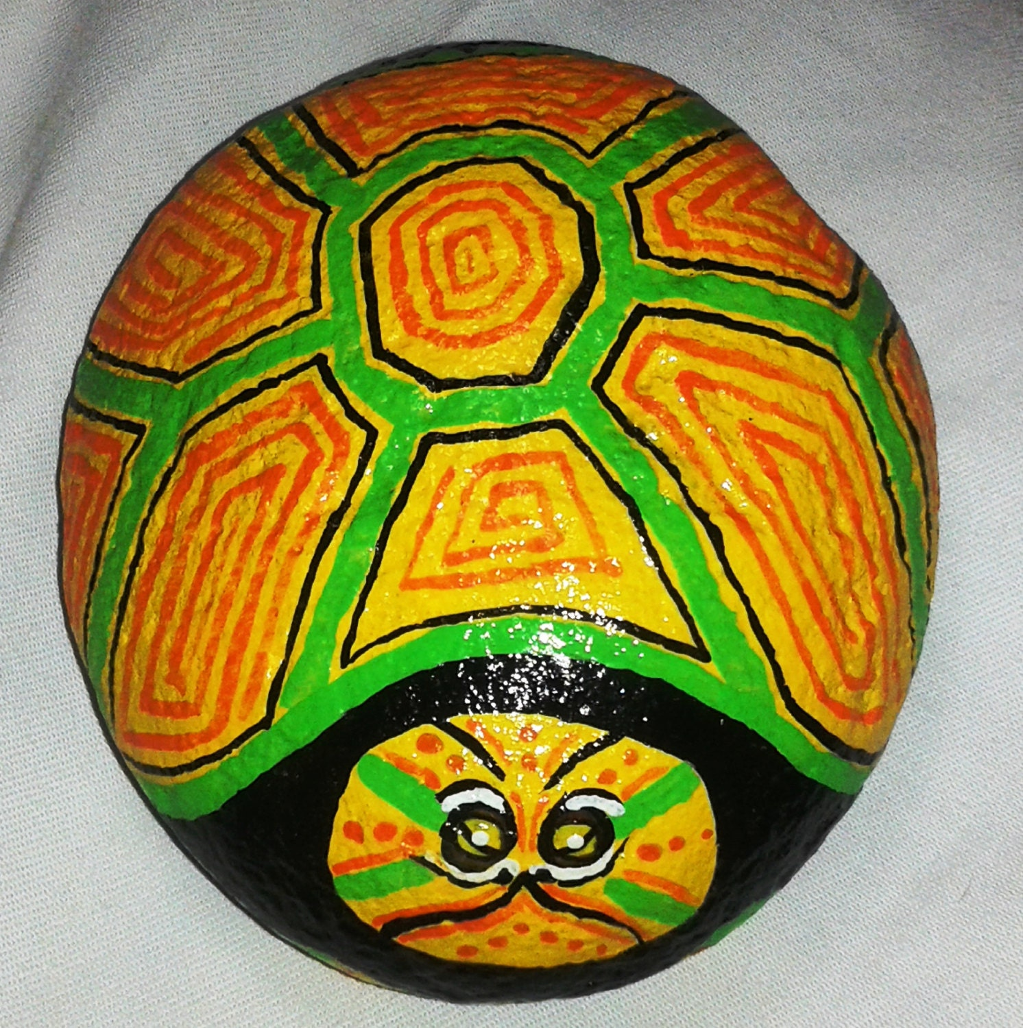 Garden art/Hand Painted Fun Turtle Stone / Painted Rock /